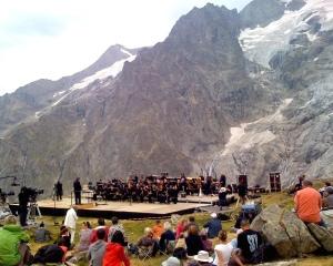 Rehearsal on glacier