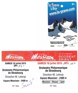 Ticket for the concert and téléphérique